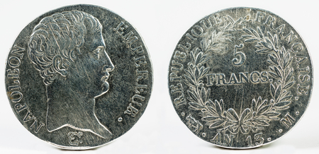 napoleon i: 1813, France 1st Empire, Napoleon I. Large Silver 5 Francs Coin.