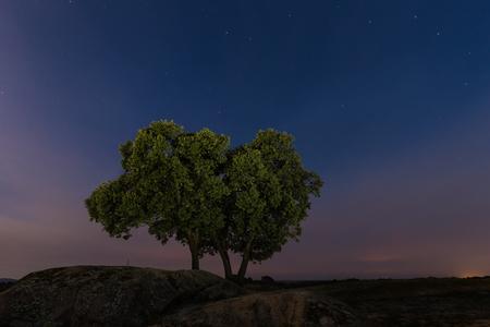 Landscape in the Natural Area of Barruecos. Using technique of lightpainting. Malpartida de Caceres. Extremadura. Spain.