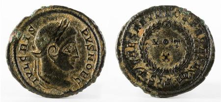 Ancient Roman copper coin of Emperor Crispus. Stock Photo