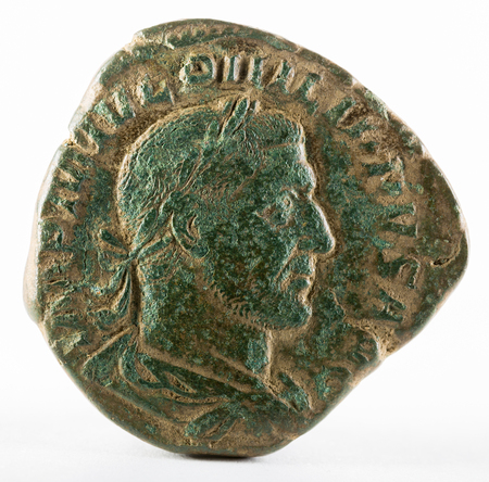 antiquity: Ancient Roman bronze sertertius coin of Emperor Philippus I. Obverse. Stock Photo