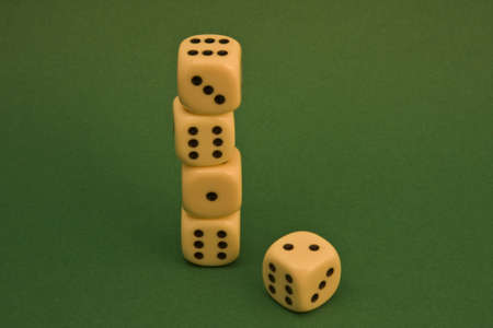 dice on a green rug Stock Photo - 3823318