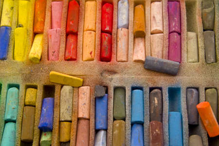 painters full utensils of color, almost abstract photo