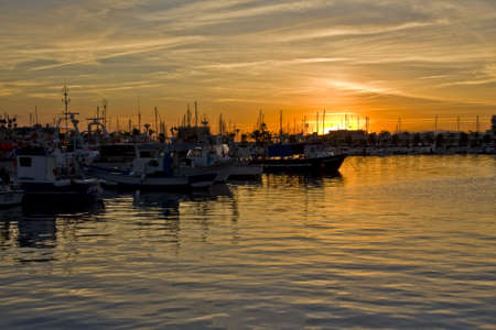 landscape with ships, maritime environment, of fishing, approaches the night Stock Photo - 3843365