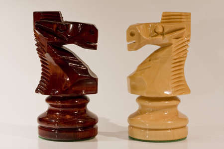 capita: Two horses of chess on white background