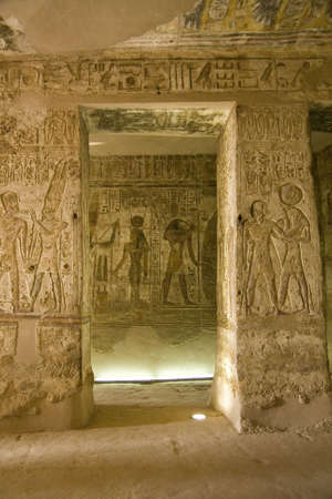 tomb: Details of Egyptian art. An example of the art of the pharaohs. Stock Photo