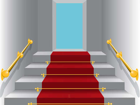 illustration representing ladder to heaven with a red carpet. Stock Vector - 5872236