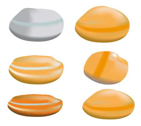 river rock: illustrazione che rappresenta i ciottoli di diverse forme e colori.