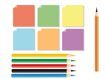 illustration representing drawing pencils of different colors and posits.