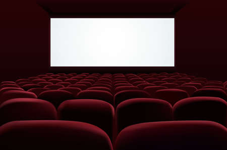 wide screen: Cinema auditorium with screen and seats Illustration