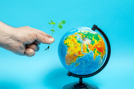 A man holds out a green sprout to the globe, blue background.