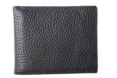 New black genuine leather wallet , isolated on white background. Closeup.