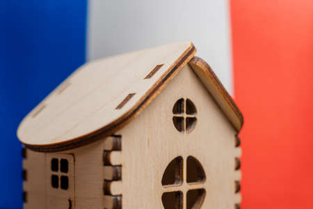 Small wooden house, France flag on background. Real estate concept, soft focus. Foto de archivo