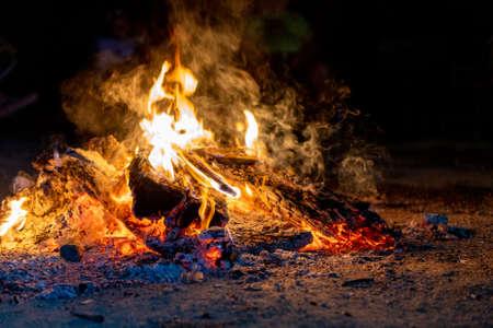 Bright beautiful bonfire at night, camping, horizontal