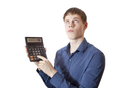 stuck up: The young man believes on the calculator. Stock Photo