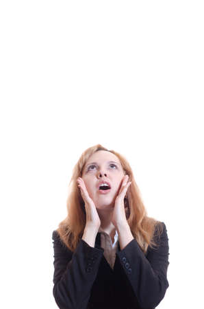 The woman in a panic looks upwards. Stock Photo - 17330190