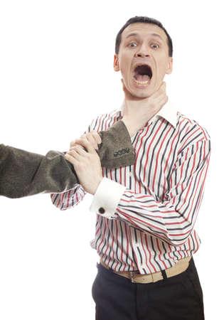 Hand choking man isolated on white.