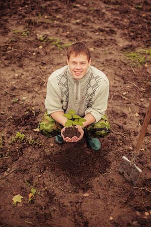plantando un arbol: Jardinero de plantar un �rbol Foto de archivo