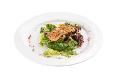 Grilled chicken breast and fresh vegetable salad isolated on white background side view Stock fotó
