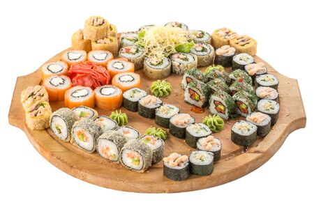 Japanese food restaurant sushi maki roll plate or platter set isolated on white background side view