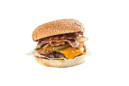 fresh cheeseburger with bacon and pickles isolated on white background side view Imagens