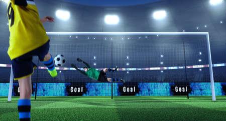 Joven futbolista patea la pelota mientras el portero defiende en un estadio de fútbol profesional. El estadio y la multitud están hechos en 3D. Jugadores en tela sin marca.