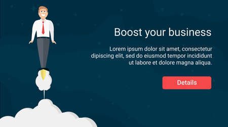 Website Header Design With Rocket Businessman