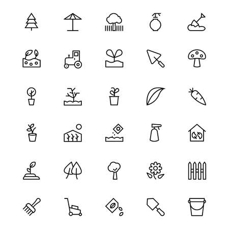 hand trowels: Gardening Line Vector Icons 3 Illustration