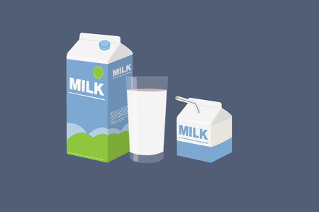 Vector Illustration of a Milk Box, a Smaller Milk Box and a Glass of Milk