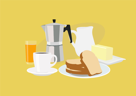 Vector Illustration of a Breakfast with Toasts, Coffee, Coffee Maker, Glass of Juice, Butter and a Jar