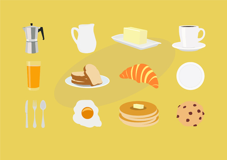 Breakfast Icons Set. Vector Illustration, Isolated. Vector