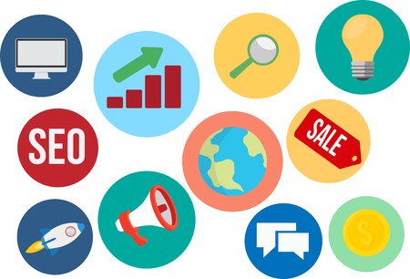 Marketing and SEO Vector Icons and Illustration Set