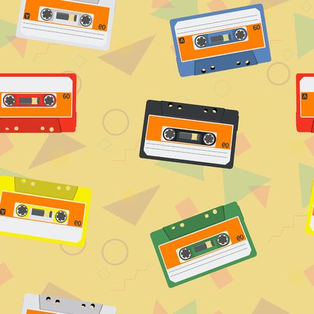 Vintage Vector Cassettes Seamless Pattern Background