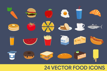 Set of Vector illustration Icons. Food: vegetables, fast food, drinks, fish and fruits.