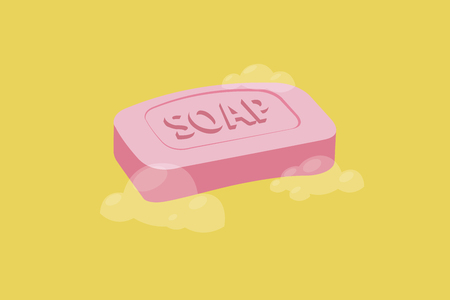 Soap Bar with Bubbles. Vector Illustration, Isolated Ilustração