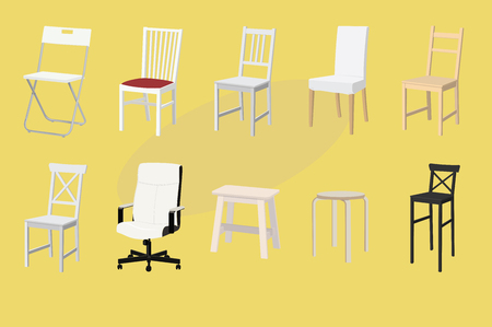 Set of Chairs and Stools of Different Designs and Colors. Furniture Design. Vector Illustration.