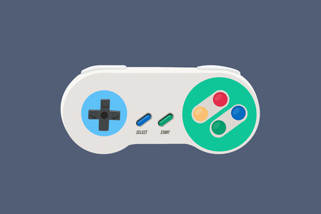 Vector Illustration of a 90s Vintage Video Game Controller - Vector