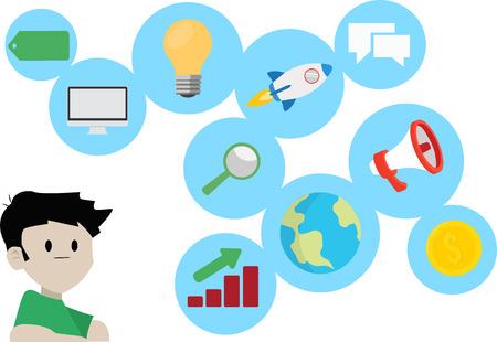 Digital Marketing Concept Vector Illustration. Marketing and SEO Icons Set. - Vector Illustration