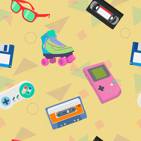 Vector 90s Themed Seamless Pattern Background