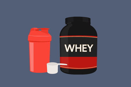 Vector Illustrations of a Shaker, Scoop and a Whey Protein Bottle. Isolated