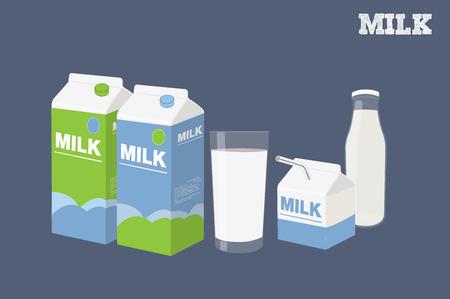 Ilustración vectorial de tres envases de leche, un vaso de leche y una botella de leche aislado