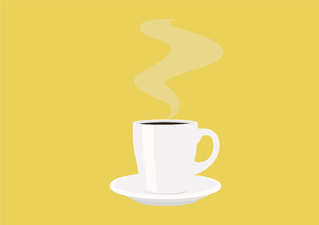 Vector Illustration of a Coffee Cup with Hot Coffee