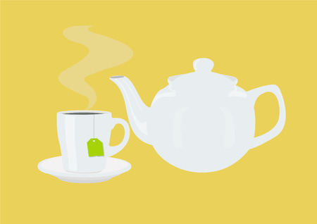 Vector Illustration of a Tea Pot and a Tea Cup with a Tea Bag