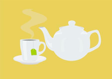 Vector Illustration of a Tea Pot and a Tea Cup with a Tea Bag