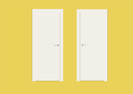 Vector Illustration of Two White Doors