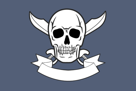 Vector Illustration of a Skull with Two Crossed Swords and Banner
