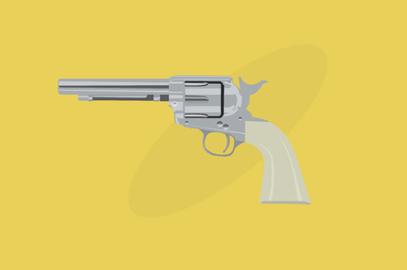 Vector Illustration of a Cowboy Revolver Çizim