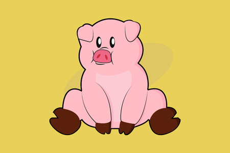 Vector Illustration of a Pig Just Sitting