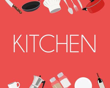 Vector Illustration, Kitchen Red Sign