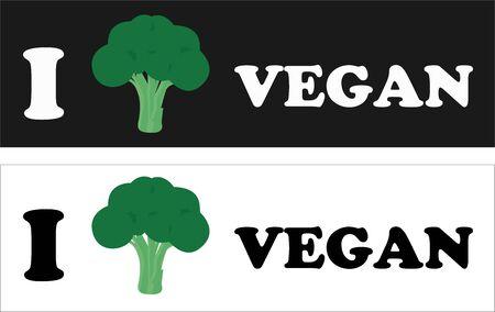 Vector Isolated Illustration of I Love Vegan Stickers Ilustração