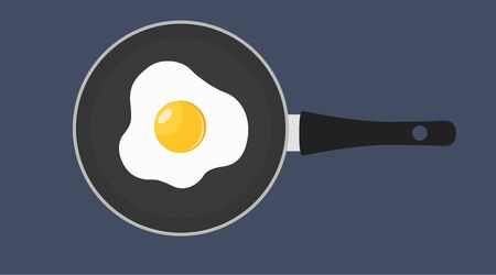 Vector Illustration of an Egg Fried on a Pan